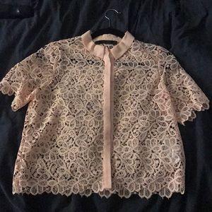 Zara Basic lace collared blouse